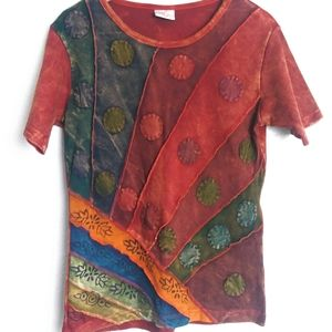 GREATER GOOD Boho Tie-Dyed Art to Wear Tee Shirt